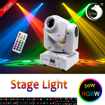 U`King 50W RGBW Moving Head Stage Light DMX512 Show Disco DJ Party Lighting Club