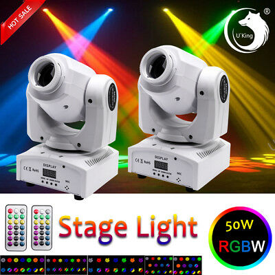 2PCS RGBW 50W U`King Pattern Moving Head Stage Lighting DMX DJ Disco Party Light