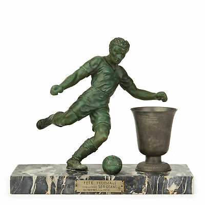 Art Deco Marble Mounted French Football Trophy Sculpture