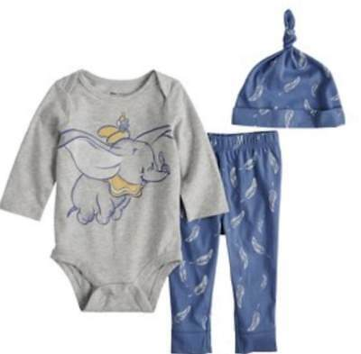 Disney Dumbo Baby Boy 3 Piece Outfit Size Nb 3 6 9 12 18 24 Months New!