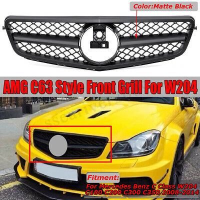 C63 Style Front Grille Grill For Mercedes Benz W204 C200 C250 C300 C350 2008-14