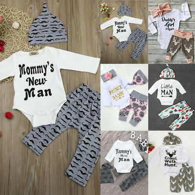 3PC/4pc Set Newborn Baby Boy Girl Romper Tops +Long Pants Hat Outfits Clothes UK