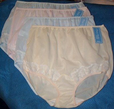 4 Pair Dixie Belle Nylon Size 6 Panties Pastel Colors with Lace on Front Legs