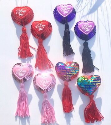 VALENTINES Nipple Covers Pasties Tassels Sequin Burlesque Lingerie Wedding Hen