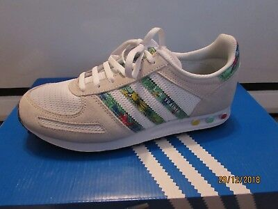 Details about New adidas Originals Junior Kids LA Trainer Aloha Trainers RedYellGreen UK2.5