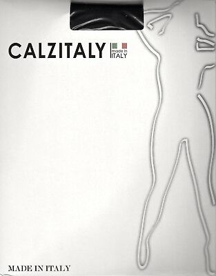 Calzitaly 50 Den Deep Lace Waist Seamless Tights Pantyhose - Med/Large - Black