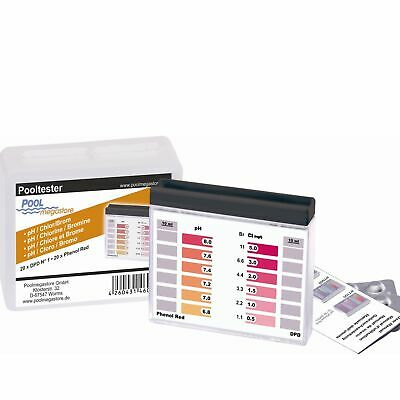 Pooltester Testgerät Pool Schwimmbad incl. 40 Tabletten Chlor und pH
