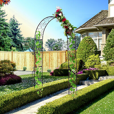 Outsunny 7.5' Galvanized Steel Free Standing Arched Garden Arbor Trellis Black