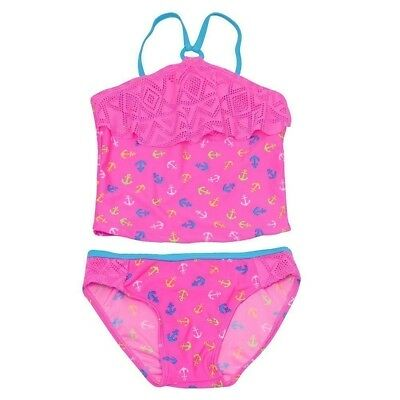 94fb852bcd097 Real Love Little Girls Pink Anchor Print Overlay 2 Pc Tankini Swimsuit 4