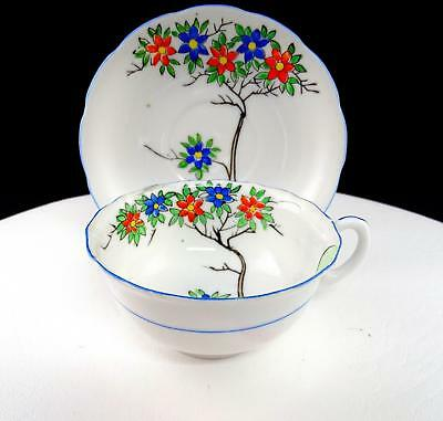 """Japanese Porcelain Hand Painted Enamel Flower Tree 2 1/8"""" Cup And Saucer Set"""