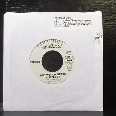 "The Carter Family & Johnny Cash - The World Needs A Melody 7"" VG+ Promo Vinyl 45"