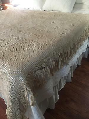 "Vintage French Crochet Bedspread Coverlet with 5"" Fringe Border 81 x 82 BS1"