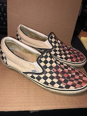 a8eab3bb675bf VINTAGE VANS CHECKERBOARD Slip-On Sneakers Custom Flames See Disc.for  Details