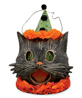 Retro BETHANY LOWE Halloween Black Sassy Cat Candy Container Paper Mache