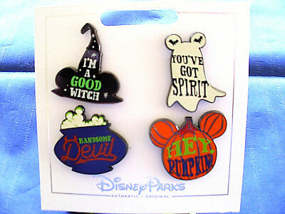 New Disney Parks * HALLOWEEN * 4 Pin Set on Card Trading Pins