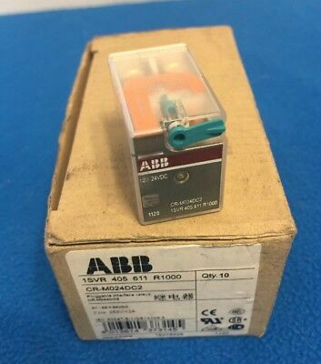1 Box of Ten (10) New ABB CR-M024DC2 PLUGGABLE INTERFACE RELAYS