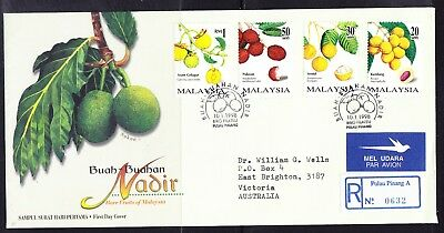 Malaysia 1998 Fruit R0632 First Day Cover to Australia