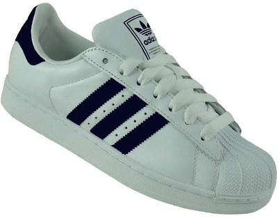 Adidas Superstar II Trainers Originals Trefoil Men's Shoes Sneaker White/Navy