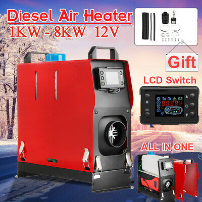 12V Diesel Air Heater All In One 1KW - 8KW Adjustable LCD Control F/ Car Vehicle