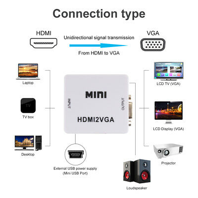 HDMI to VGA 1080P HD HDTV Video Audio Converter Adapter for DVD Laptop AC1365