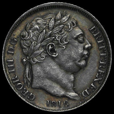 1816 George III Milled Silver Sixpence, A/UNC