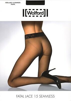 Wolford Fatal Lace 15 Den Seamless Tights Pantyhose - Medium - Nearly Black RARE