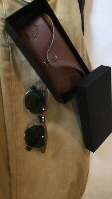 7045a560b98 New Ray Ban Clubmaster Wood RB3016M 11824E Gold Walnut Wood w Green 51mm