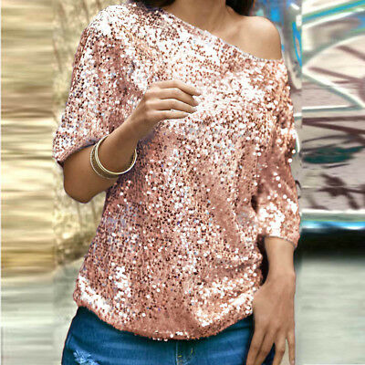 af9f688413f570 UK Women Fashion Sequin Sparkle Glitter Tops Tank Short Sleeve T-Shirt  Blouse PR