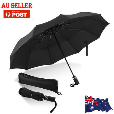 Windproof Travel Umbrella Lightweight Automatic Canopy Compact Light Reflective
