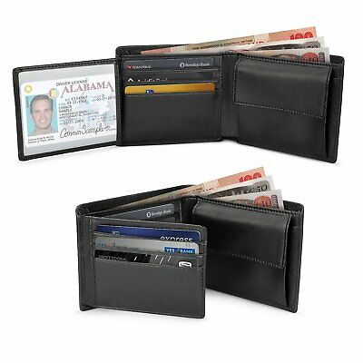 Wilbest  Trifold Leather Mens Wallet with Coin Pocket, Credit Card Slots & Card