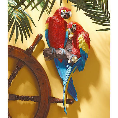 """Tropical Scarlet Macaws Design Toscano Exclusive 22"""" Hand Painted Wall Sculpture"""