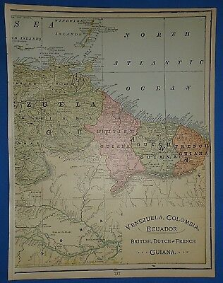 Vintage 1895 BRITISH DUTCH FRENCH GUIANA Map Old Antique Original Atlas Map 2519