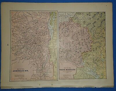 Vintage 1895 ADIRONDACK WHITE MOUNTAINS Map Old Antique Original Atlas Map 2519