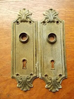"""Two Antique Cast Brass Doorplates """"Racine"""" 1905 by Russell & Erwin, Louis XIV"""