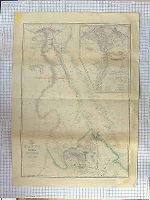 Original Old Antique Print Weller Map C1870 Egypt Nubia Abyssinia Red Sea 19th