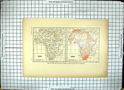 Original Old Antique Print Map 1800 South Africa 1899 Sudam Madagascar 19th