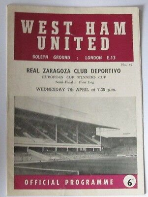 1964/1965 ECWC/European CWC Semi/Final. West Ham v Real Zaragoza
