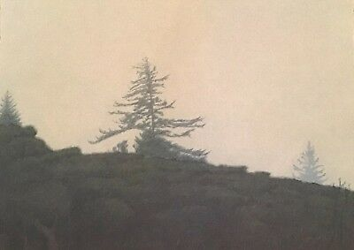 Rare Russell Chatham Tamalpais In The Fog Mountain Pine Tree Signed Numbered Art