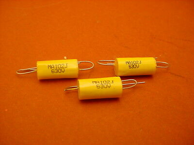 20 x 0.001 uF / 630 Volt Polyester Axial CAPACITOR    New Stock   5% Tolerance