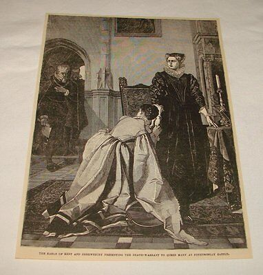 1879 magazine engraving ~ DELIVERING DEATH WARRENT TO QUEEN MARY