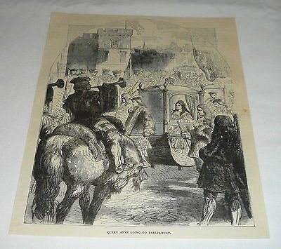 1878 magazine engraving ~ QUEEN ANNE GOING TO PARLIAMENT