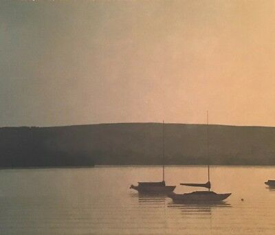 Russell Chatham Signed Original Boat Art Lithograph Still Evening At Tomales Bay