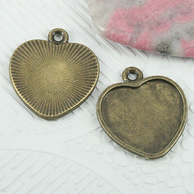 10pcs antiqued bronze flligree heart settings cabochon size 11x12mm G54