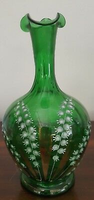 Victorian Green Glass Enamel  Lily of the Valley Green Glass Decanter