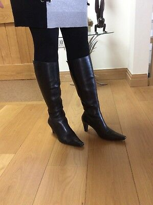 9a1bfe258f5a DUO BOOTS BLACK SIZE 7 (40) LADIES KNEE HIGH calf 38cm LEATHER (TED