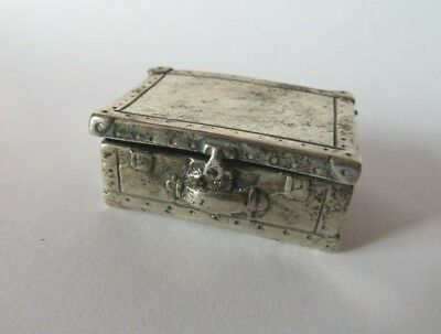 Small Vintage Novelty Solid Silver Box Treasure Chest Design Marked 800