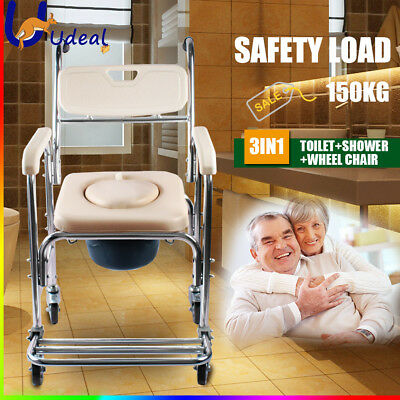 Mobile Shower Toilet Commode Chair Bathroom Bedside Footrest Aluminum Wheelchair