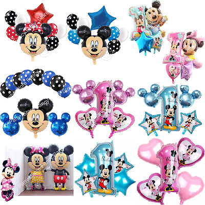 Disney Mickey Minnie Mouse Birthday Foil Latex Balloons 1st Birthday Baby Shower