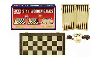 3 in 1 Wooden Games Chess Draughts Backgammon Family Children Party Toy