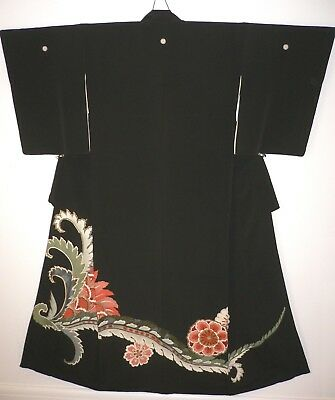 FAB VINTAGE SILK BLACK JAPANESE TOMESODE KIMONO, HAND CRAFTED, Oriental Flowers